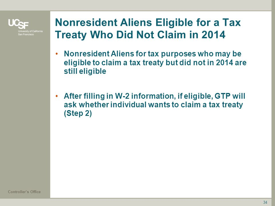 Nonresident Aliens Eligible for a Tax Treaty Who Did Not Claim in 2014