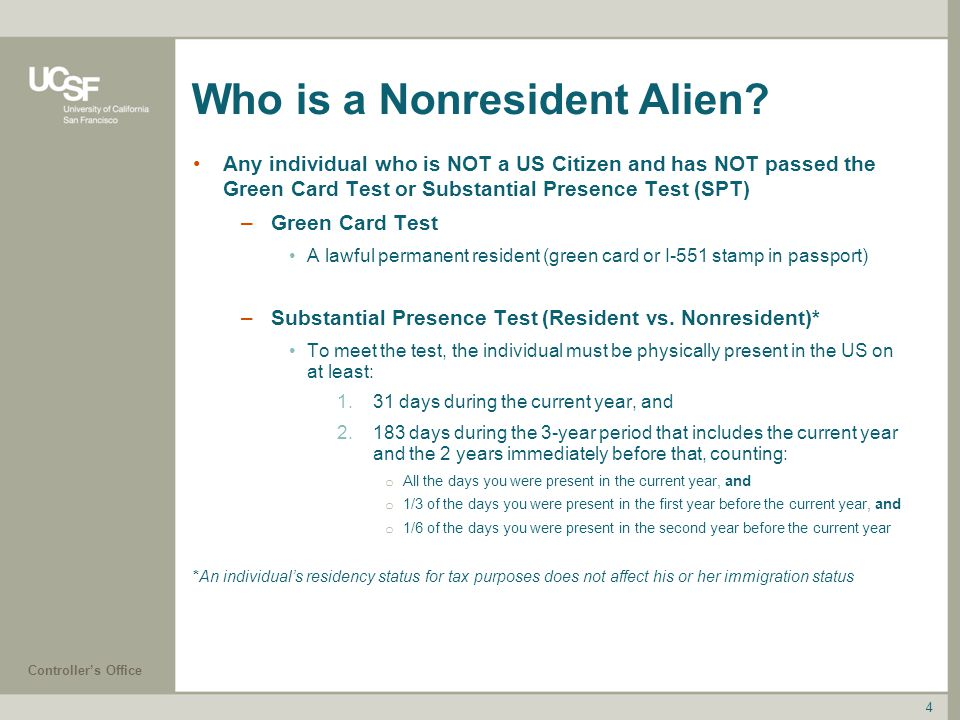 Who is a Nonresident Alien