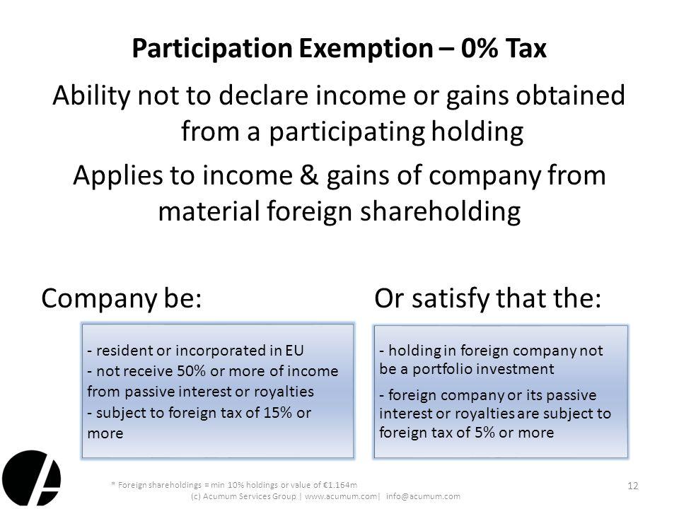 Participation Exemption – 0% Tax