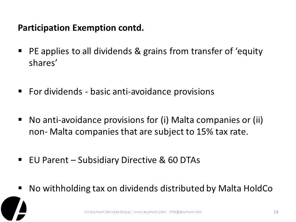 Participation Exemption contd.