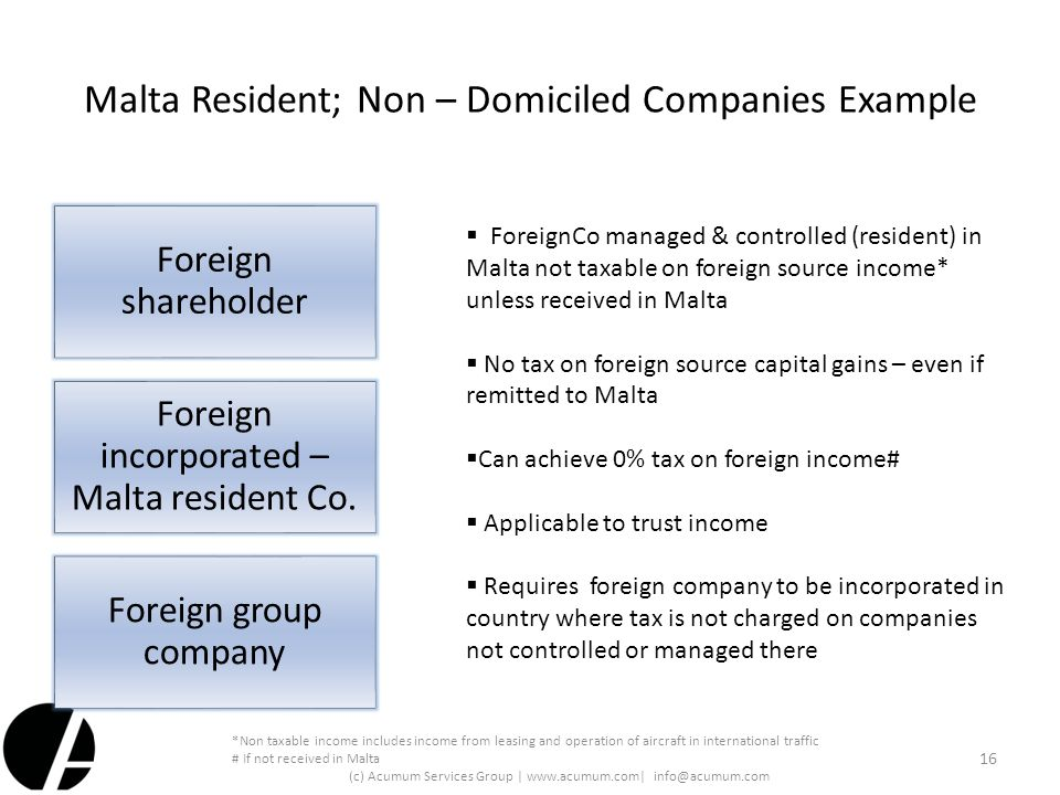 Malta Resident; Non – Domiciled Companies Example