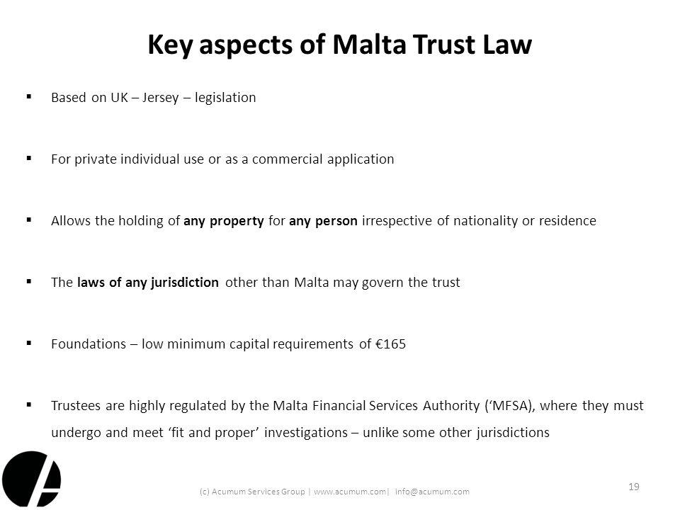 Key aspects of Malta Trust Law