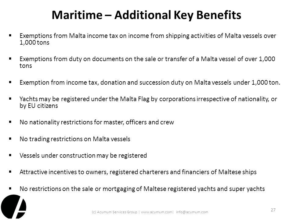 Maritime – Additional Key Benefits