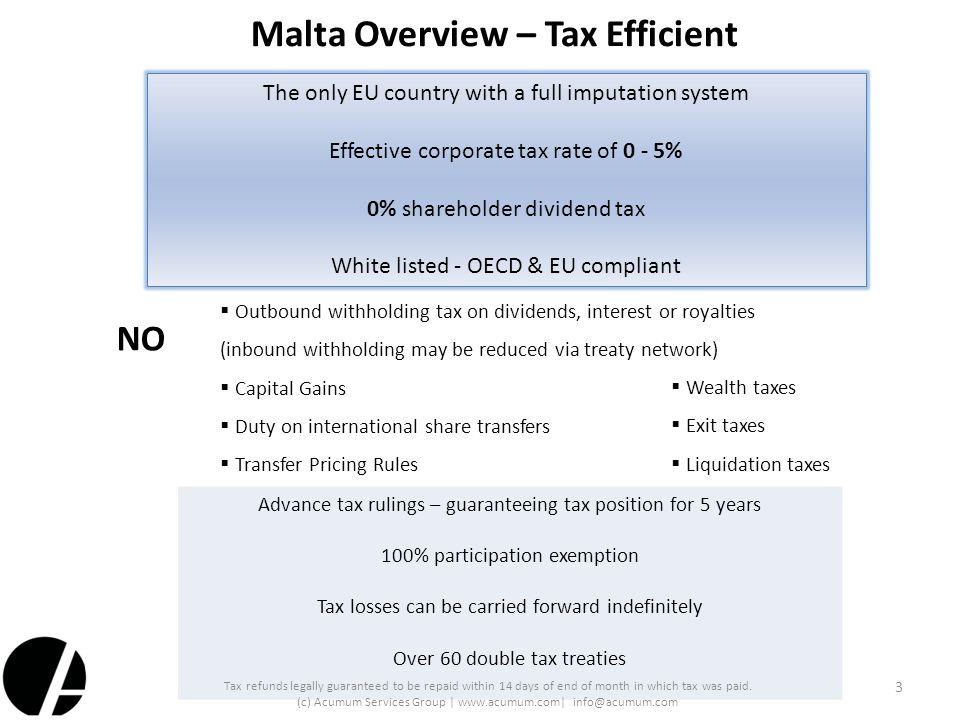 Malta Overview – Tax Efficient