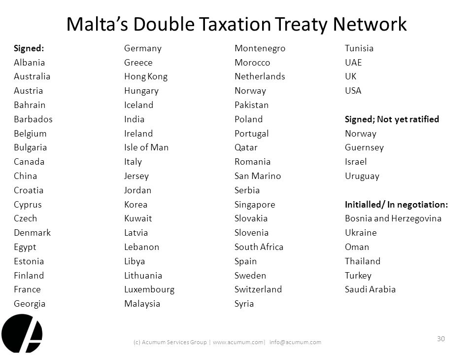 Malta's Double Taxation Treaty Network