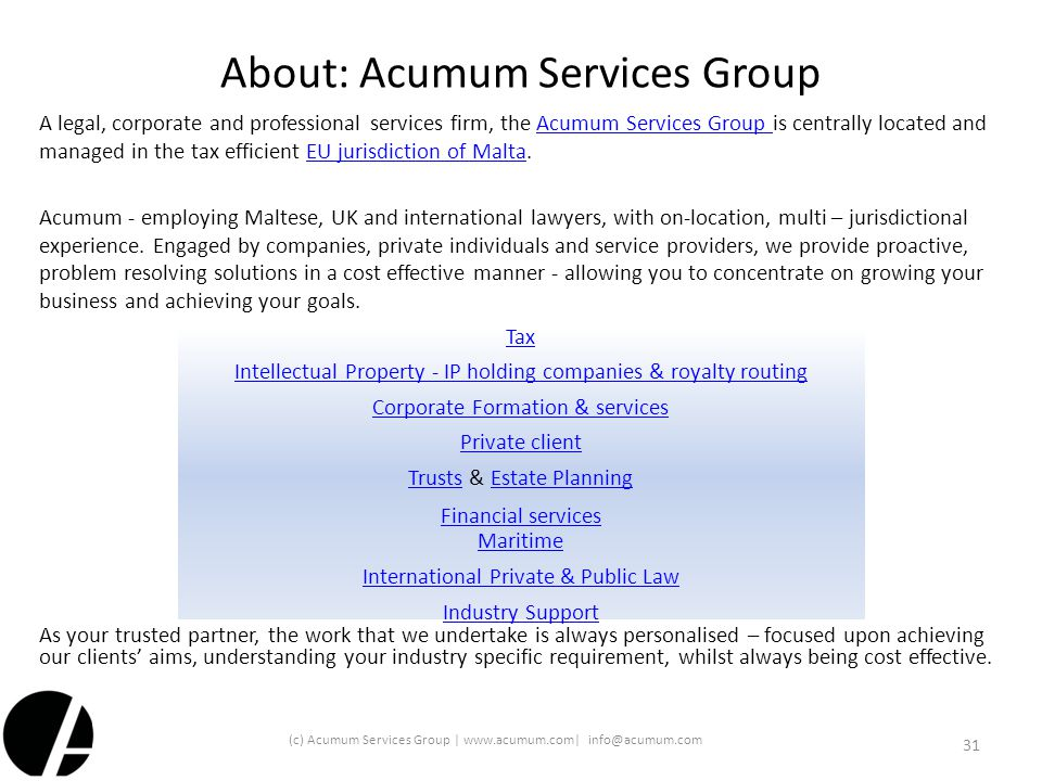About: Acumum Services Group