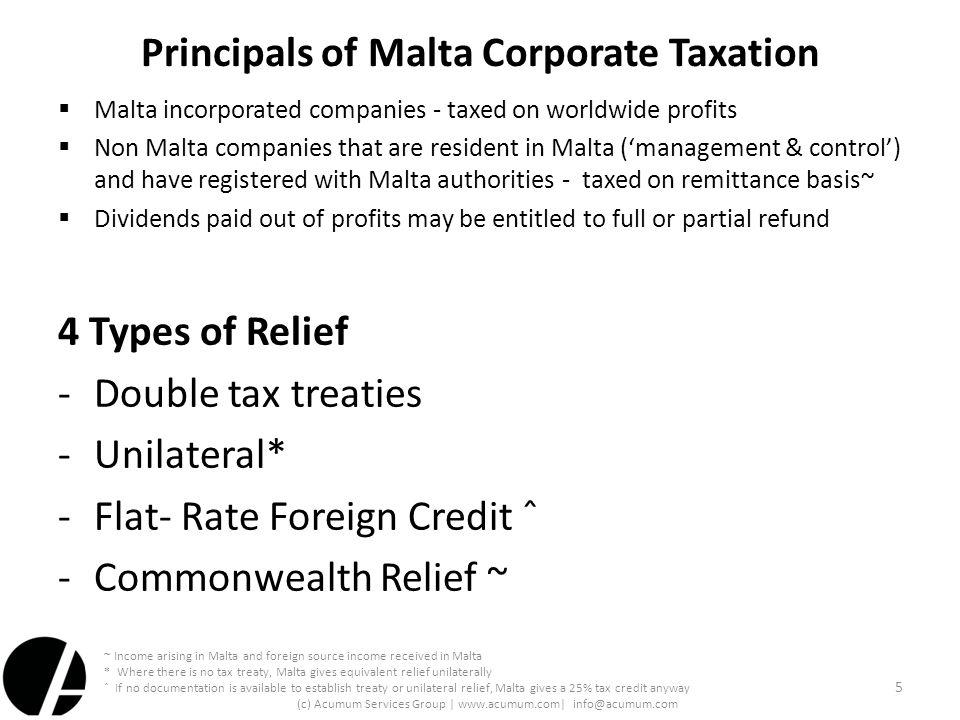 Principals of Malta Corporate Taxation