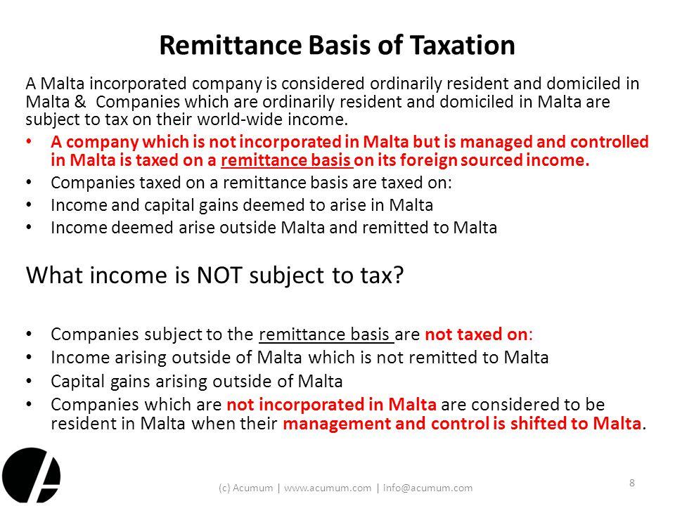 Remittance Basis of Taxation