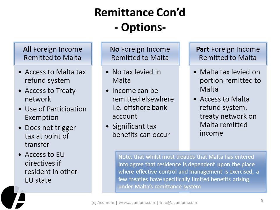 Remittance Con'd - Options-
