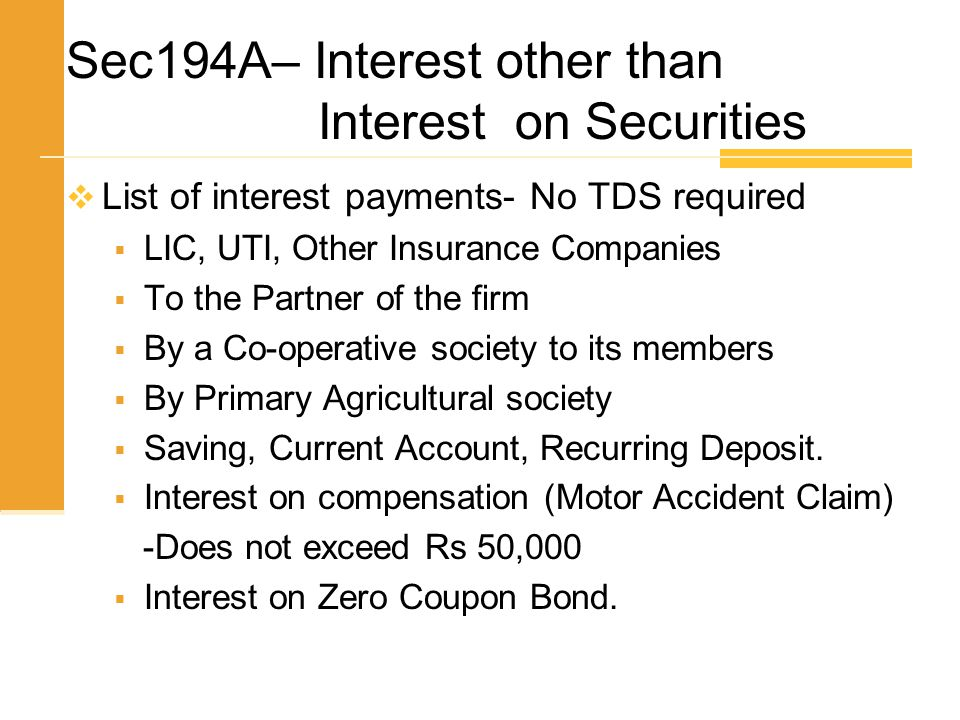 Sec194A– Interest other than Interest on Securities
