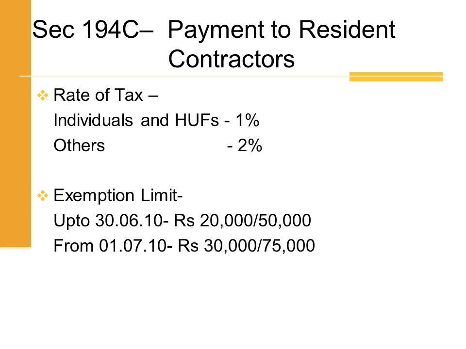 Sec 194C– Payment to Resident Contractors