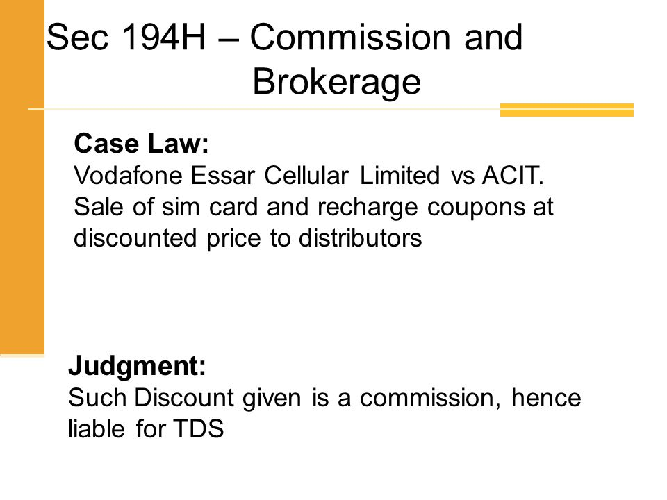 Sec 194H – Commission and Brokerage