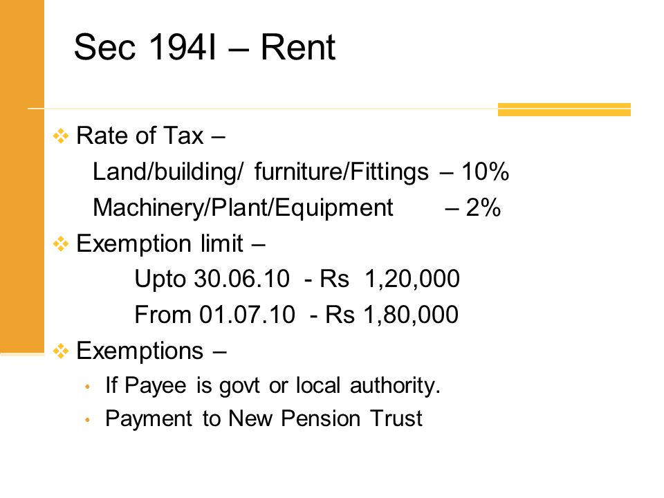 Sec 194I – Rent Rate of Tax – Land/building/ furniture/Fittings – 10%