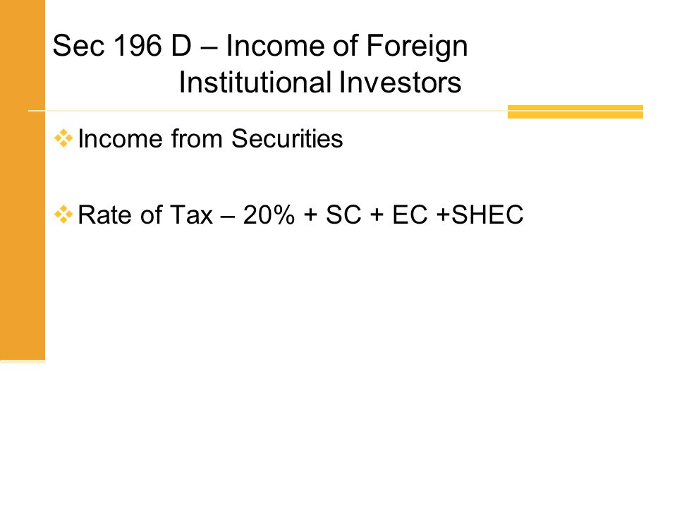 Sec 196 D – Income of Foreign Institutional Investors