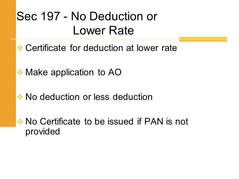 Sec 197 - No Deduction or Lower Rate