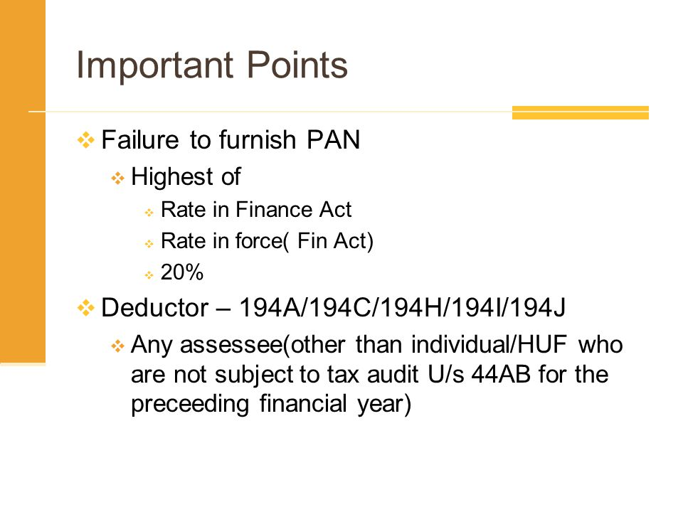 Important Points Failure to furnish PAN