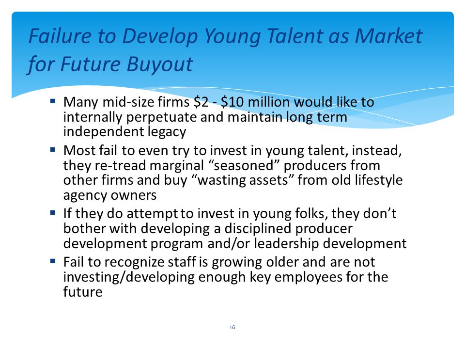Failure to Develop Young Talent as Market for Future Buyout