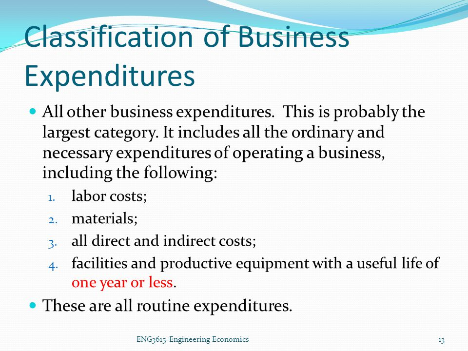 Classification of Business Expenditures