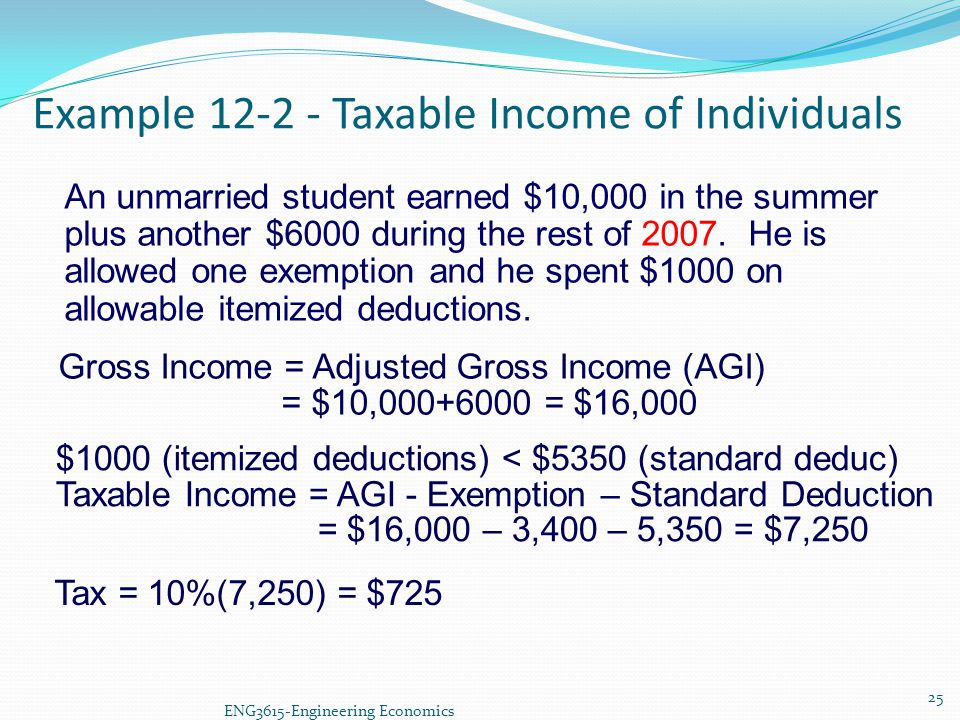 Example 12-2 - Taxable Income of Individuals