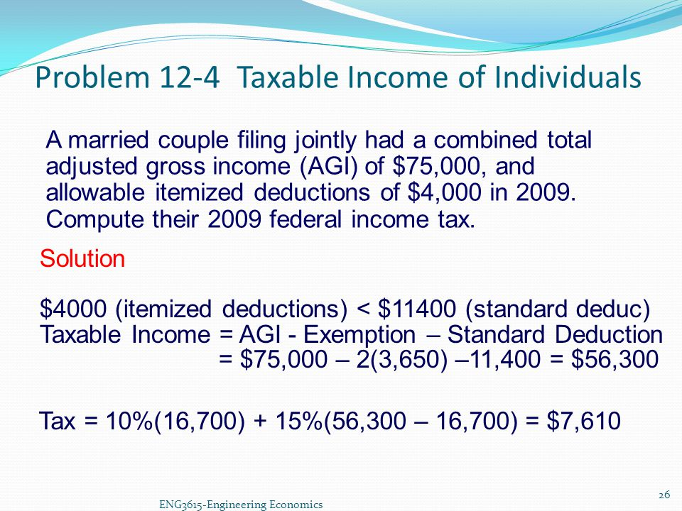 Problem 12-4 Taxable Income of Individuals