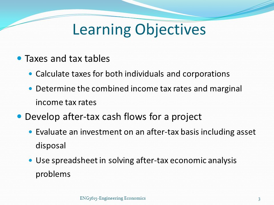 Learning Objectives Taxes and tax tables