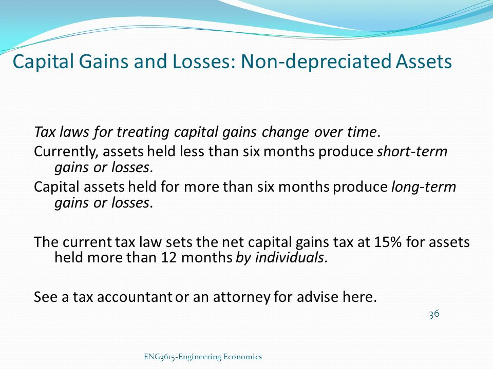 Capital Gains and Losses: Non-depreciated Assets
