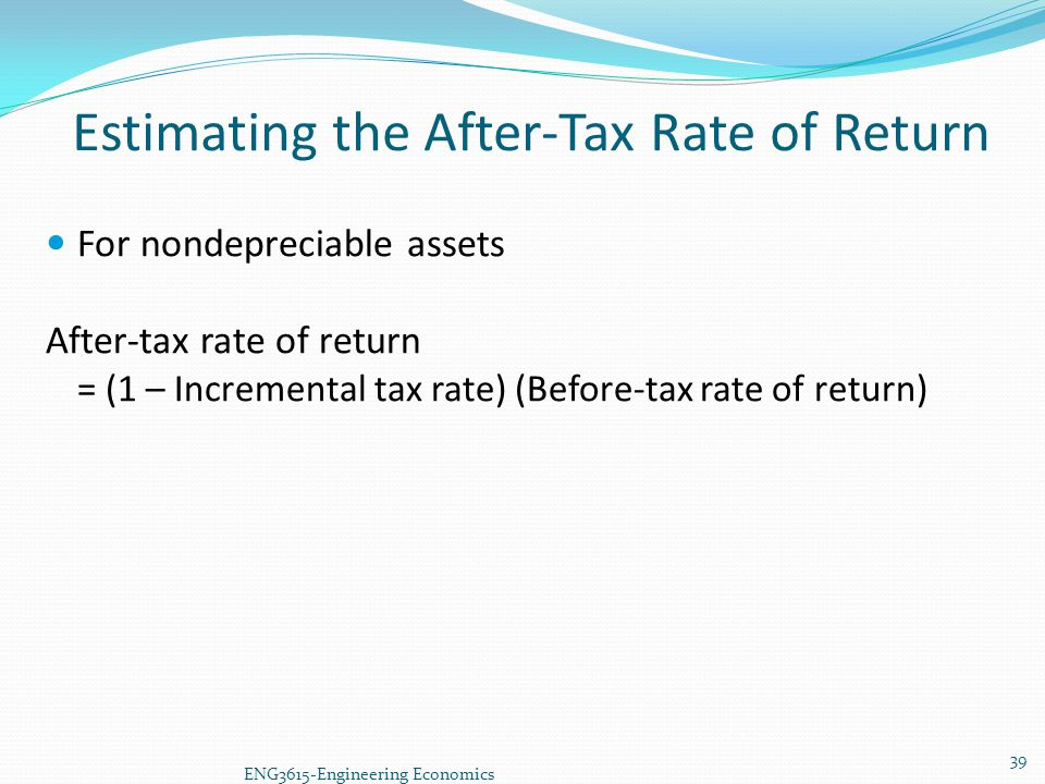 Estimating the After-Tax Rate of Return