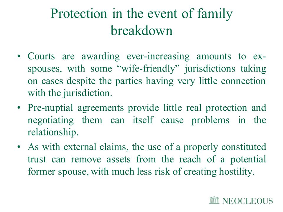 Protection in the event of family breakdown
