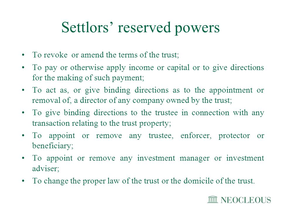 Settlors' reserved powers
