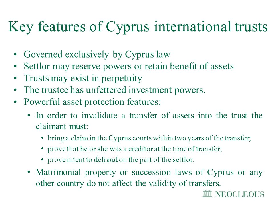 Key features of Cyprus international trusts