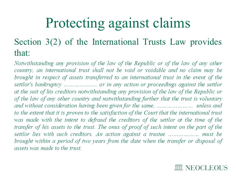 Protecting against claims