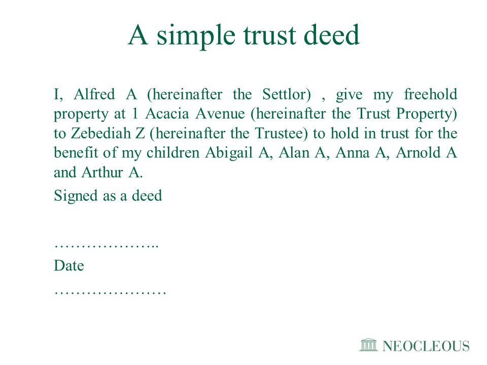 A simple trust deed