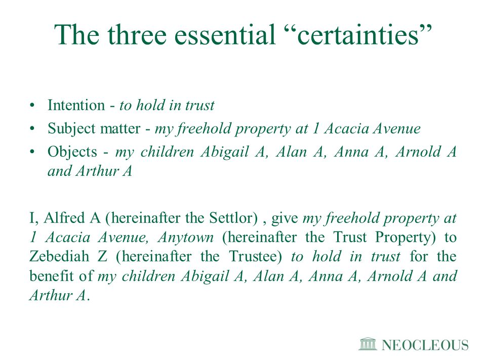 The three essential certainties