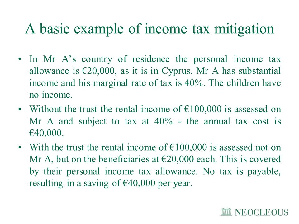A basic example of income tax mitigation