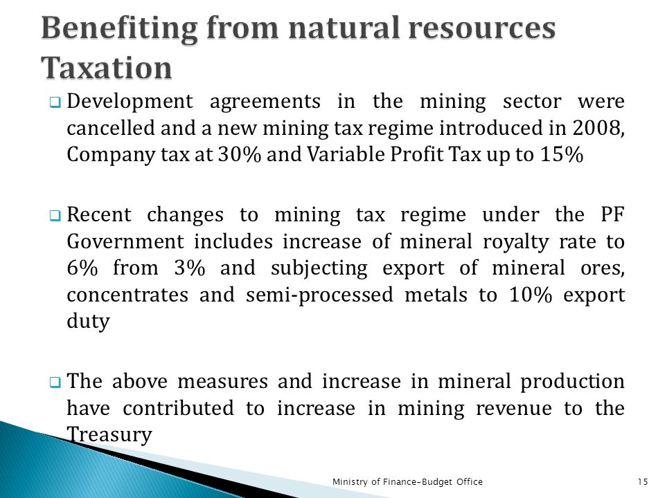 Benefiting from natural resources Taxation