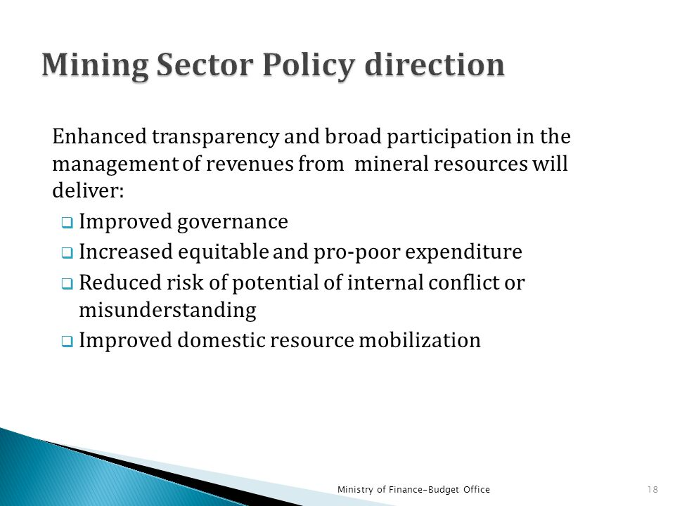 Mining Sector Policy direction