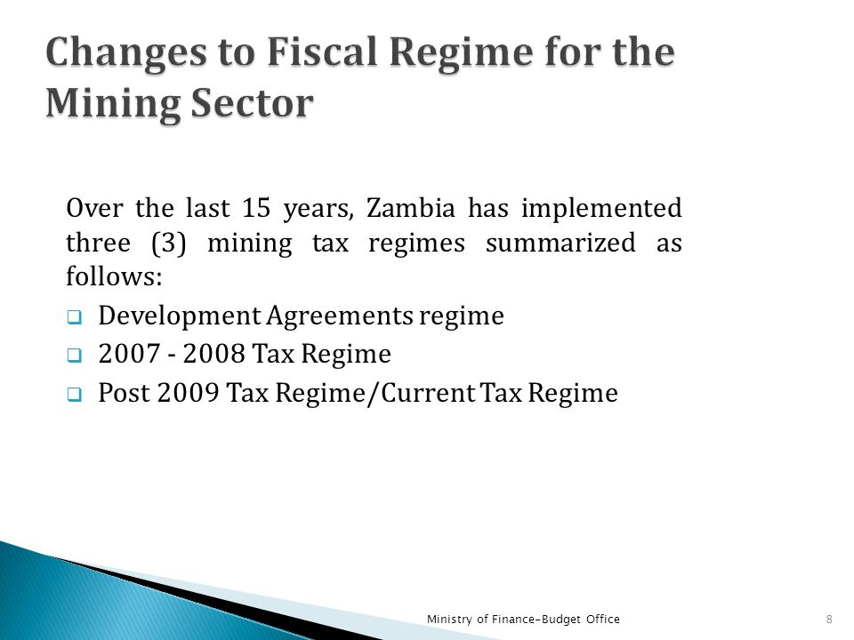 Changes to Fiscal Regime for the Mining Sector