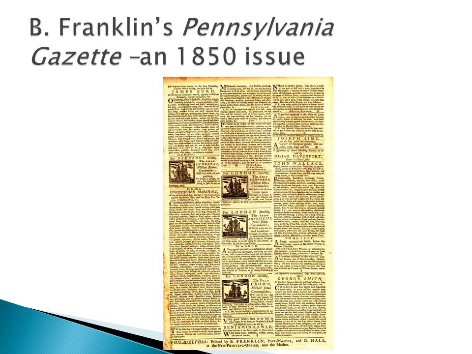 B. Franklin's Pennsylvania Gazette –an 1850 issue