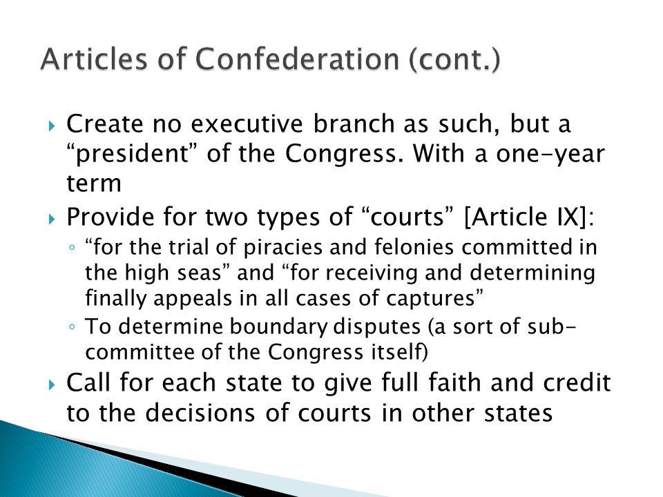 Articles of Confederation (cont.)