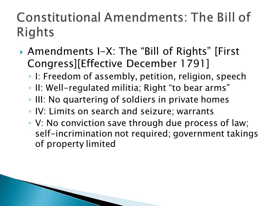Constitutional Amendments: The Bill of Rights