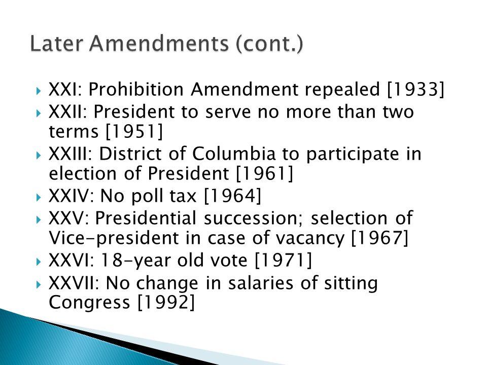 Later Amendments (cont.)
