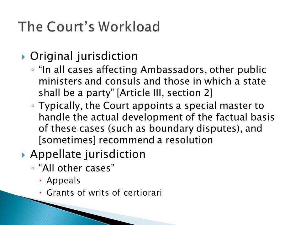 The Court's Workload Original jurisdiction Appellate jurisdiction
