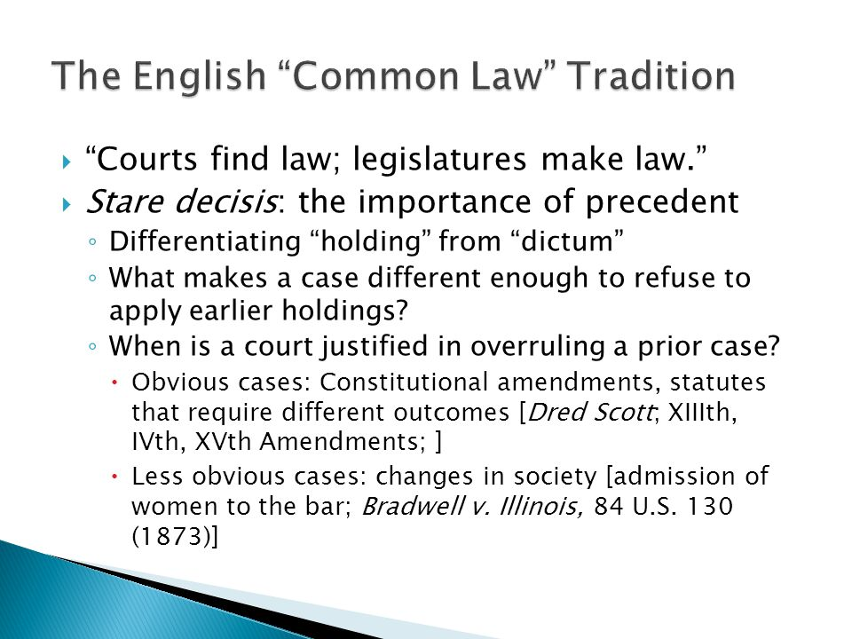 The English Common Law Tradition