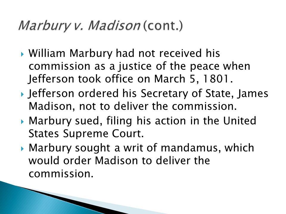 Marbury v. Madison (cont.)