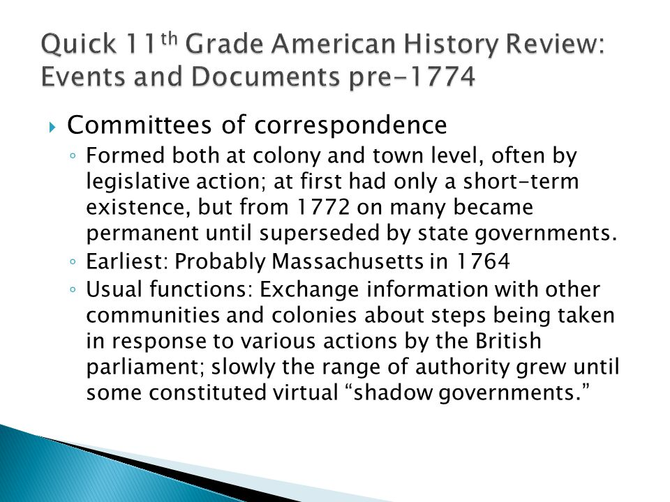 Quick 11th Grade American History Review: Events and Documents pre-1774