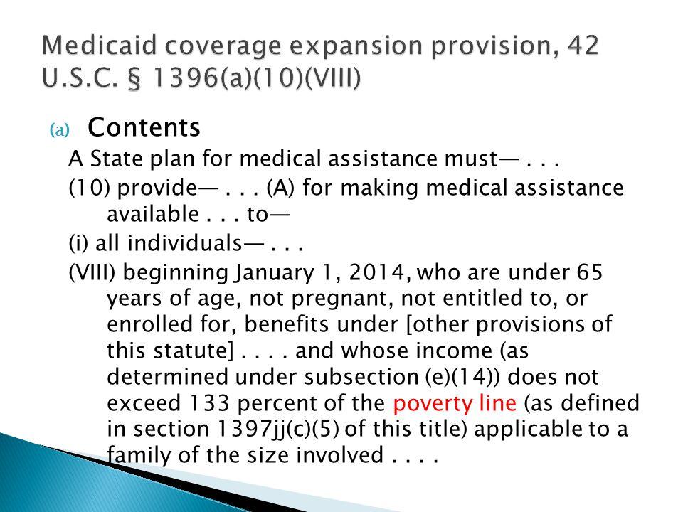 Medicaid coverage expansion provision, 42 U.S.C. § 1396(a)(10)(VIII)