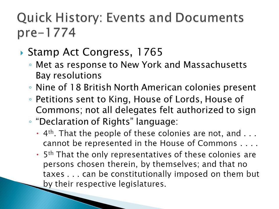 Quick History: Events and Documents pre-1774