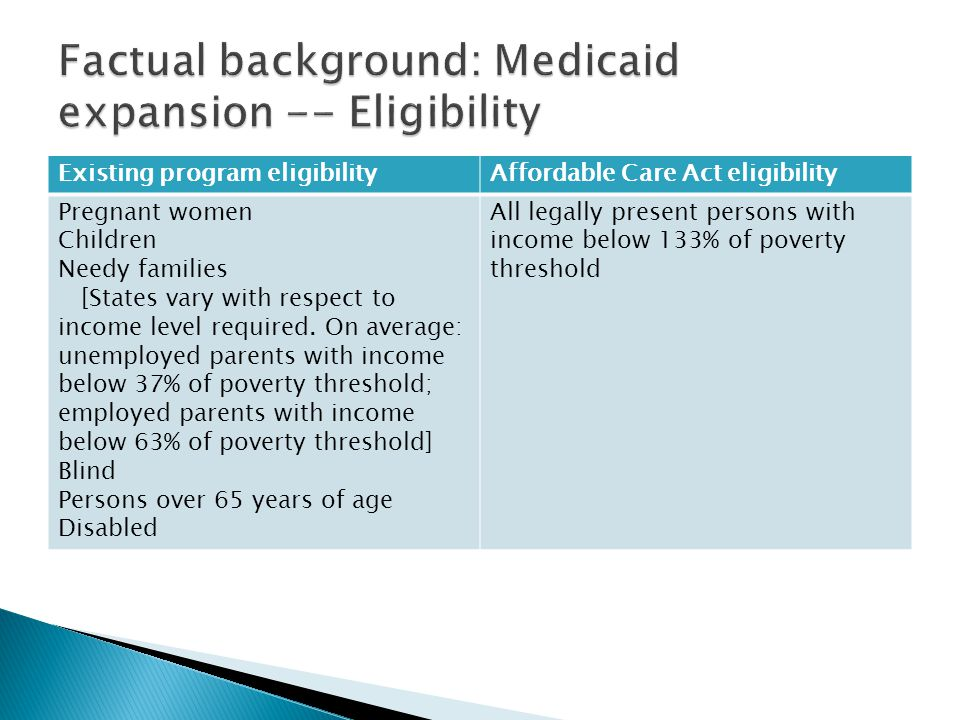 Factual background: Medicaid expansion -- Eligibility