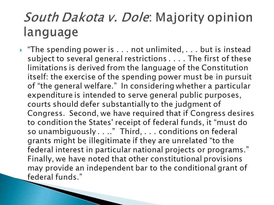 South Dakota v. Dole: Majority opinion language