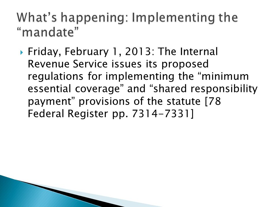 What's happening: Implementing the mandate